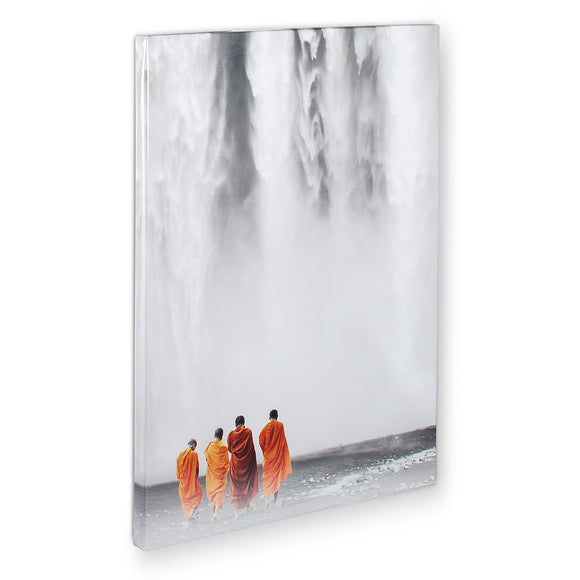 Waterfall and Monks Glossy Print