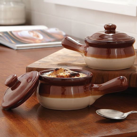 Traditional Onion Soup Bowls with lid in stoneware
