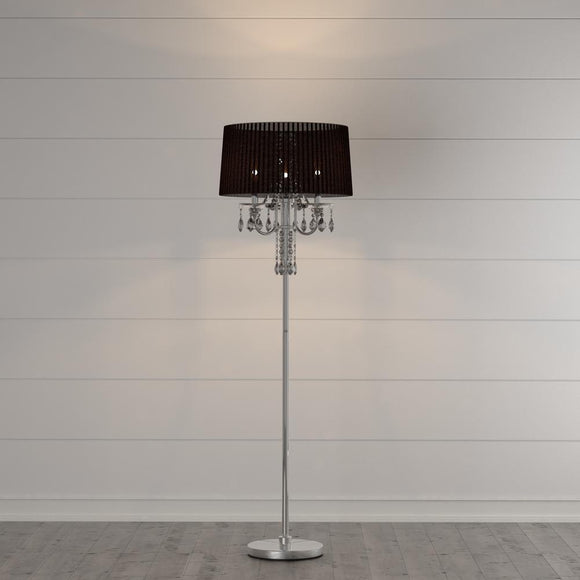 Silver Crystal Drop Floor Lamp