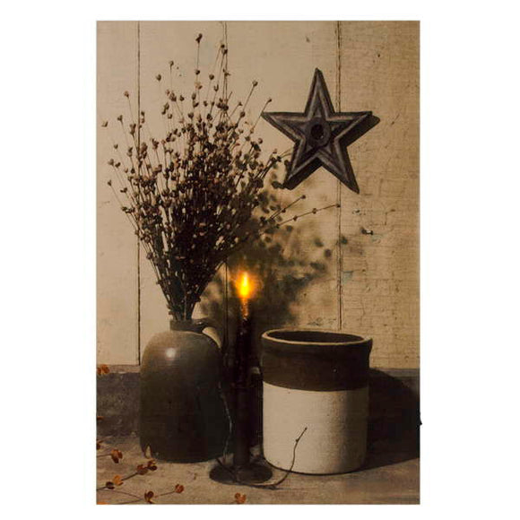 Led canvas art - vases & candle