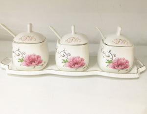 Set of 3 beautiful Seasoning Cans/Pickle jar/Pickle serving dish/Achaar serving dish