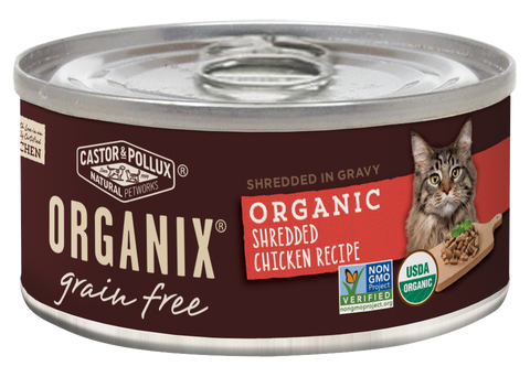Castor and Pollux Organix Grain Free Organic Shredded Chicken Canned Cat Food
