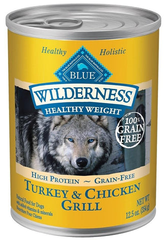Blue Buffalo Wilderness Healthy Weight Grain Free Turkey and Chicken Grill Adult Canned Dog Food