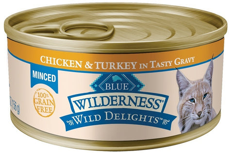 Blue Buffalo BLUE Wilderness Wild Delights Minced Chicken and Turkey Recipe Canned Cat Food