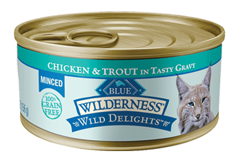 Blue Buffalo Wilderness Wild Delights Minced Chicken and Trout Recipe Canned Cat Food