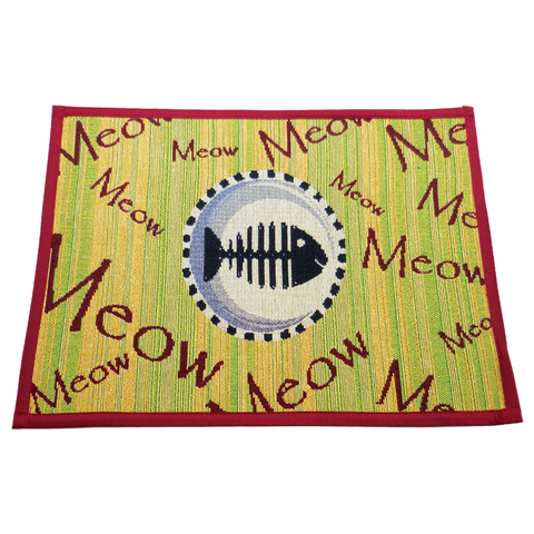 Arlee Pet Products Meow Meow Tapestry Bowl Mat