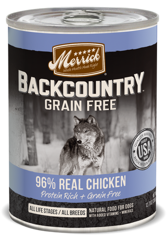 Merrick Backcountry Grain Free Backcountry 96% Chicken Recipe Canned Dog Food