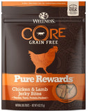 Wellness CORE Natural Grain Free Pure Rewards Chicken and Lamb Recipe Jerky Bites Dog Treats