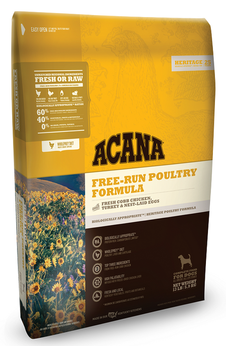 ACANA Heritage Free Run Poultry Formula Grain Free Dry Dog Food
