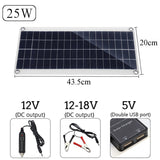 12V 25W Dual USB Solar Panel with Car Charger + 10/20/30/40A USB Solar Charger