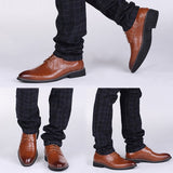 New High Quality Genuine Leather Men Brogues Shoes Lace-Up Bullock Business