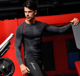 2pcs/set Men Power Body Slimming Waist Shapewear Long Sleeves T Shirt Chest Control
