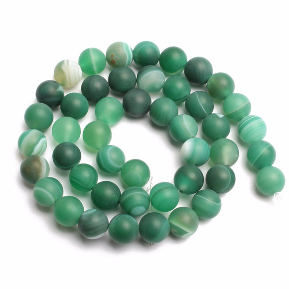 4 6 8 10 12 14mm Green Dull Polish Matte Striated Agata Round Beads