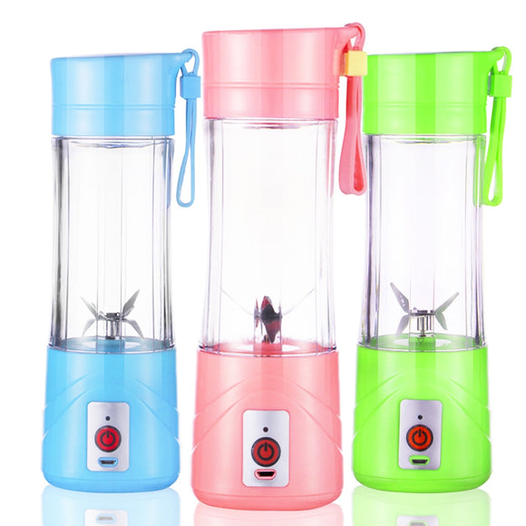 6-Leaf Blade Electric Portable Juicer Cup Fruit Vegetable Mixer Bottle USB Rechargeable