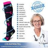 Compression Socks (7 Pairs), 15-20 Mmhg Is BEST Graduated Athletic; Medical