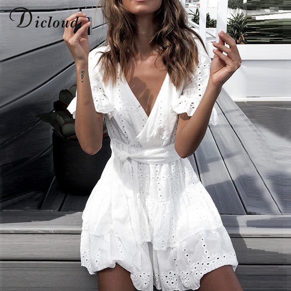 DICLOUD White Embroidery Cotton Dresses Women Short Sleeve Beach Sundress