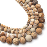 Dull Polish Matte Natural Picture Jasper Stone Round Beads 4/6/8/10mm 15inches