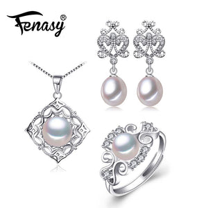 FENASY  925 Sterling Silver Earrings With Stones Jewelry Sets For Women