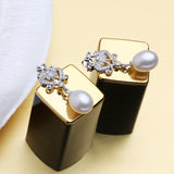 FENASY 925 Sterling Silver Earrings stones natural Pearl Jewelry Sets For women