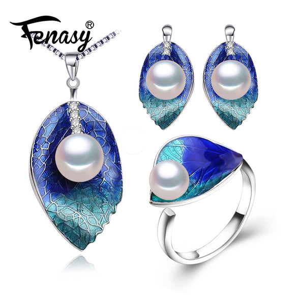 FENASY Pearl Jewelry sets 925 Sterling Silver Cloisonne earrings ring stud earrings