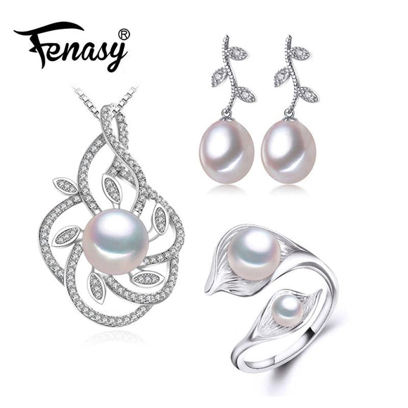 FENASY Trendy 925 Sterling Silver Natural Pearl Jewelry Sets For Women Drop Earrings