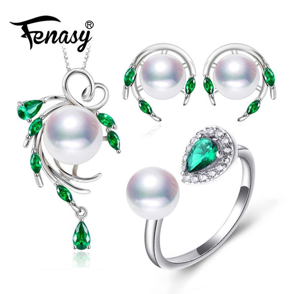 FENASY Trendy 925 Sterling Silver Natural Pearl Jewelry Sets For Women Green Emerald