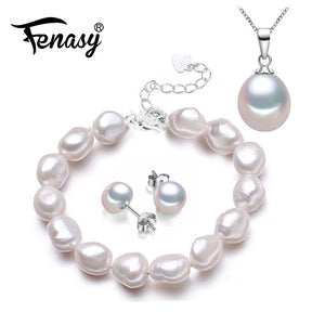 FENASY Trendy Natural Pearl Bracelet Necklaces & Pendants Earrings Jewelry Sets