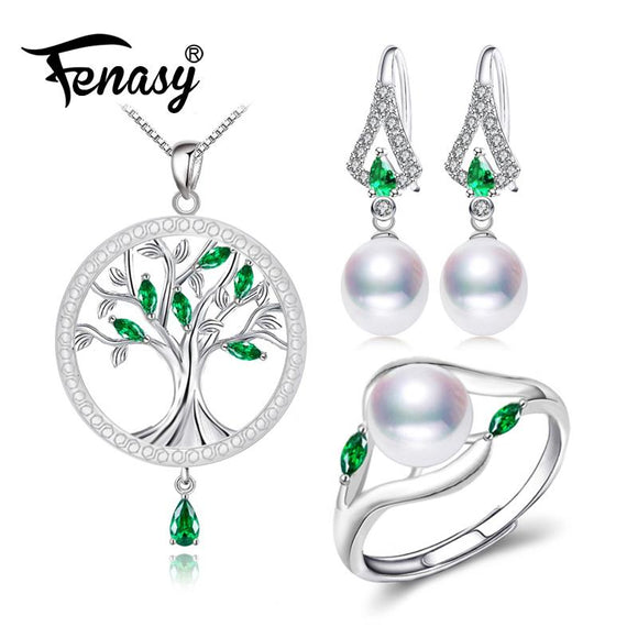 FENASY Trendy Pearl Jewelry Sets Pearl Pendant Necklace Earrings For Women