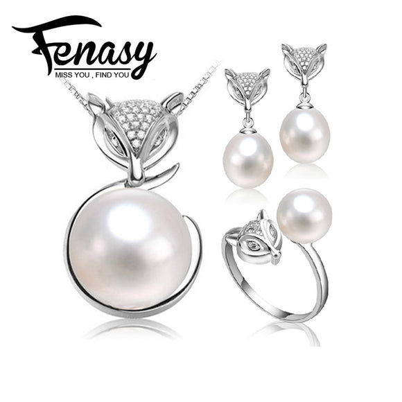 FENASY natural Pearl jewelry sets 925 sterling silver fox animal pendant necklace