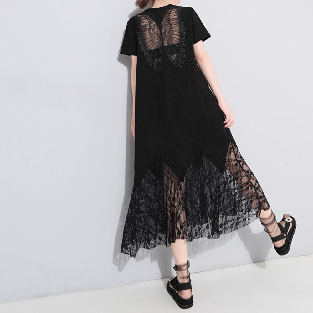 4879f11c9f Gothic Black Lace Hollow Shirt Dress Women Solid Pullover Angel Wings ...