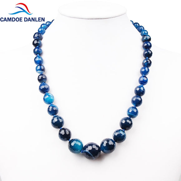 3 Style Blue Gem Necklace Nature Stone Faceted Beads 50CM Long