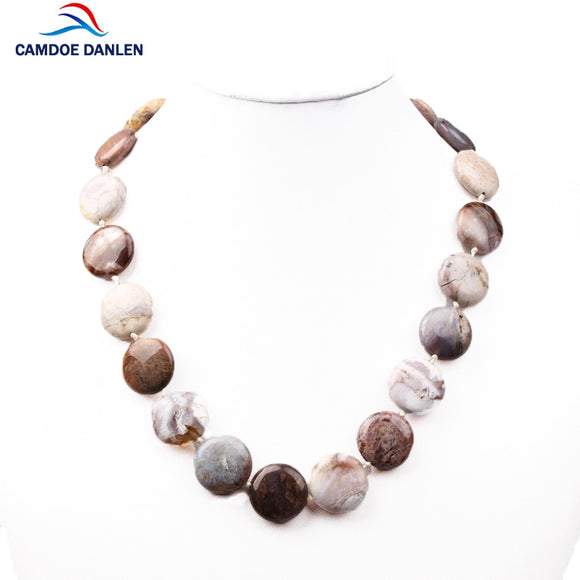 4 style HI-Q 100% Natural Stone Round Shape Necklaces Women Handwoven Knotted