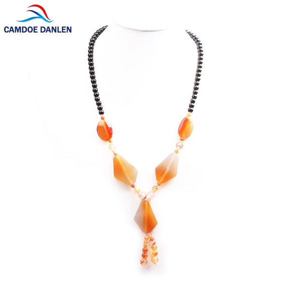 CAMDOE DANLEN Natural Stone Beads Bijoux Boho Necklaces Women Chain 55CM long
