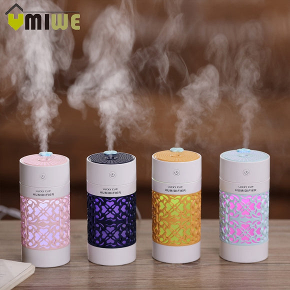 Hollow Air Humidifier with LED Night Lamp Mini Fan Aroma Essential Oil Diffuser USB