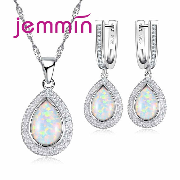 Jemmin Glamorous Romantic Water Drop Shape 925 Sterling Silver Crystal Opal Necklace