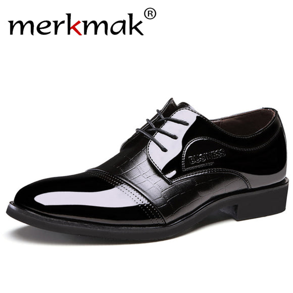 Luxury Brand Patent Leather Shoes Men Oxfords Men's Flats Formal Shoes Classic