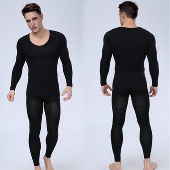 Mens Bodyshuits Underwear Body Shaper Long sleeve T Shirt And Slimming Pants