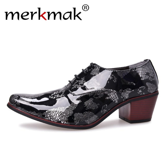 Fashion Men Dress Shoes High Heels Italian Leather Oxford Shoes Man