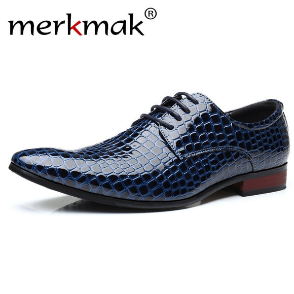 Men Brogue Shoes Artificial Snake Leather Lace Up Pointed Toe Shoes Italian