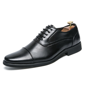 Men Dress Brogue Shoes Luxury Brand Genuine Leather Formal Flats