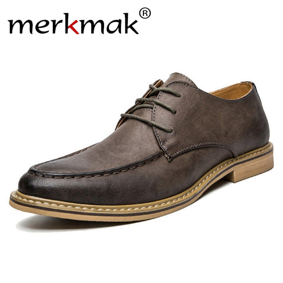 Merkmak 2018 New Luxury Men Dress Shoes Retro Leather Oxford Shoe