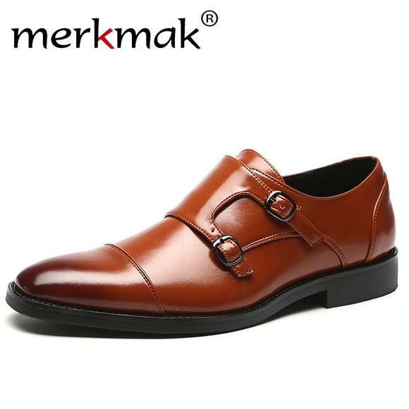 Men Dress Shoes 2018 New Fashion Casual Gentlemen Slip On Leather Shoes Formal
