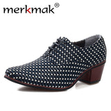 Merkmak Leather Men Dress Shoes Fashion Pointed Toe High Heels Luxury Oxford Shoe
