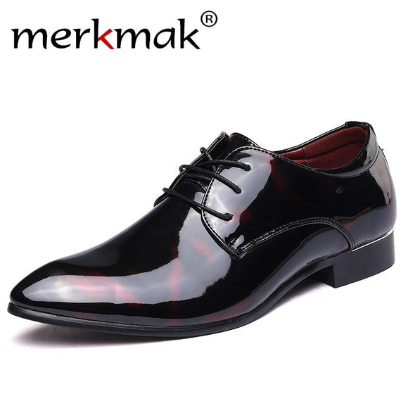 Merkmak Leather Oxford Shoes For Men Dress Shoes Men Formal Shoes Pointed Toe