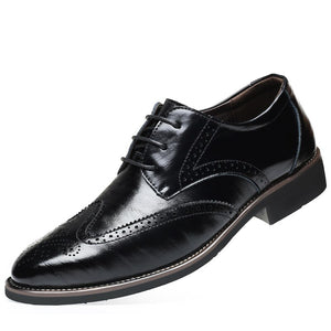 Luxury Designer Formal Men Dress Shoes Genuine Leather Classic Brogue Shoes