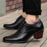 Luxury Men Dress Wedding Shoes Patent Glossy Leather 6cm High Heels