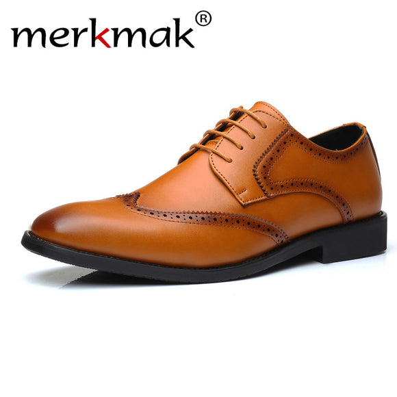 Men Dress Shoes Genuine Leather Lace Up Brogue Shoes Luxury Brand Business