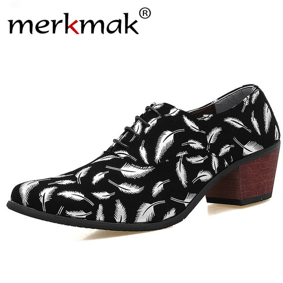 Merkmak  Men Formal Oxford Shoes Fashion Leather Pointed Toe High Heels