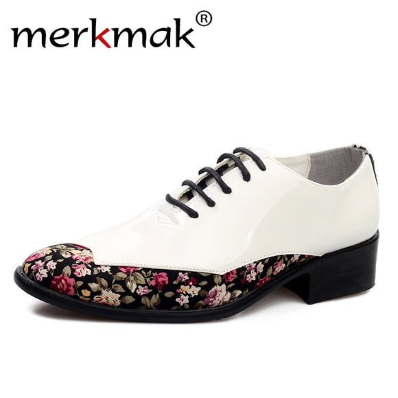 Mermak 2018 New Men Patent Leather Shoes Pointed Toe Oxford Dress Shoes Fashion