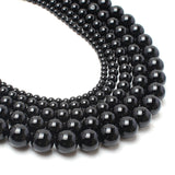 Natrual Stone Beads Smooth Black Agate Stone Beads 4/6/8/10/12/14mm 15inches